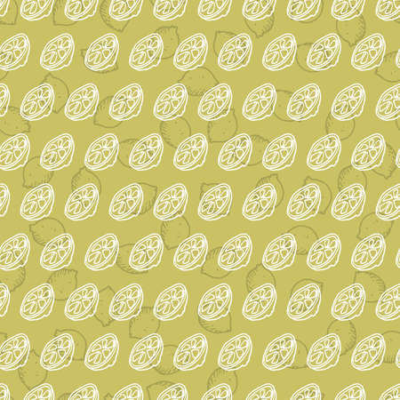 Vector green simple lemon half lemon slice doodle repeating background pattern. Suitable for textile, gift wrap and wallpaper.