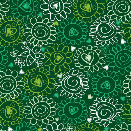 green monochrome doodle hand drawn flower power and hearts line art fun seamless pattern Illustration