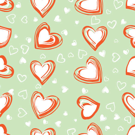 green doodle cute scattered and overlapping hearts valentine seamless pattern