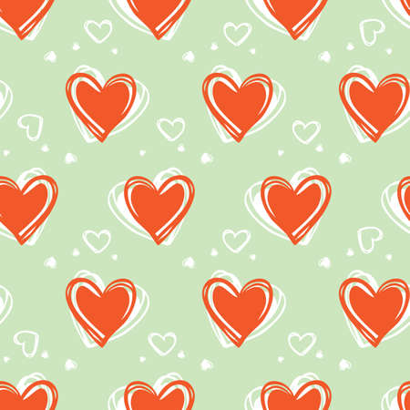 green doodle cute rows of hearts valentine seamless pattern Illustration