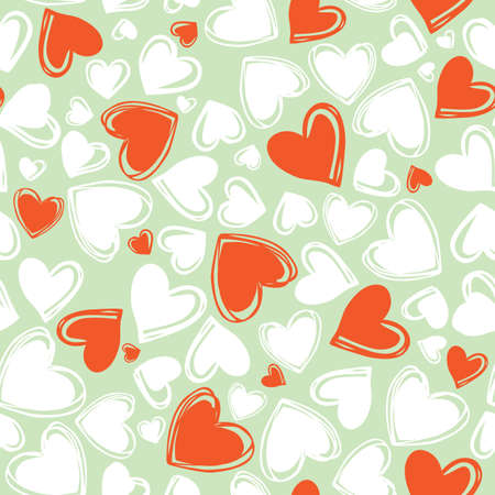 Vector green doodle cute multi direction red and white hearts valentine seamless pattern. Suitable for textile, gift wrap and wallpaper.