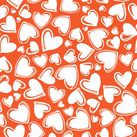 Vector red doodle cute multi direction hearts valentine seamless pattern. Suitable for textile, gift wrap and wallpaper. Illustration
