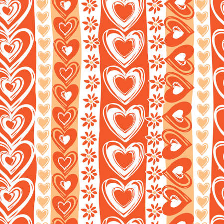 Vector monochrome red doodle cute hearts valentine vertical stripes seamless pattern. Suitable for textile, gift wrap and wallpaper.