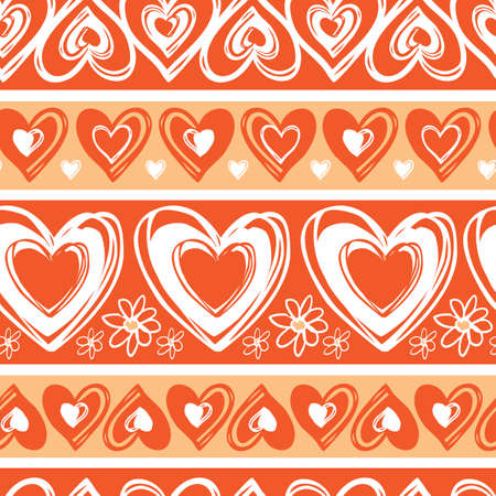 Vector monochrome red doodle cute hearts valentine horizontal stripes seamless pattern. Suitable for textile, gift wrap and wallpaper.