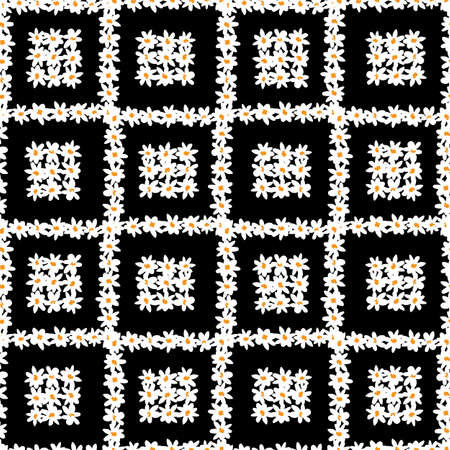 Vector black and white fun daisy flowers square blocks repeat pattern with dark grey hearts background. Suitable for textile, gift wrap and wallpaper.