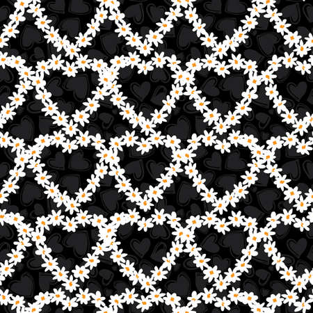 Vector black and white fun daisy flowers hearts repeat pattern with dark grey hearts background. Suitable for textile, gift wrap and wallpaper.
