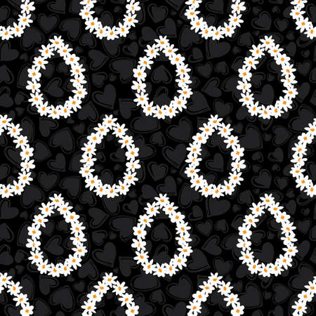 Vector black fun daisy flowers teardrops repeat pattern with dark grey hearts background. Suitable for textile, gift wrap and wallpaper. Illustration