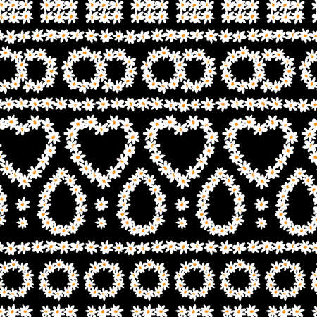 Vector black rows fun daisy chain flowers shapes repeat pattern. Suitable for textile, gift wrap and wallpaper. Illustration