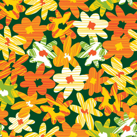 Vector colourful hand drawn abstract flower shapes with bold line texture. Suitable for textile, gift wrap and wallpaper.