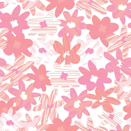 Vector pink monochrome hand drawn abstract flower shapes with line texture. Suitable for textile, gift wrap and wallpaper.