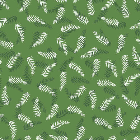 Vector monochrome green seamless pattern with scattered fern leaf. Perfect for fabric, scrapbooking and wallpaper projects. Illustration