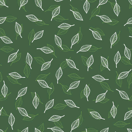 Vector monochrome green seamless pattern with scattered leaf. Perfect for fabric, scrapbooking and wallpaper projects. Illustration