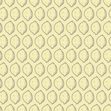 Vector yellow simple lemon doodle repeating background pattern. Suitable for textile, gift wrap and wallpaper.
