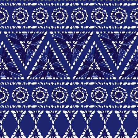 blue shibori polygon ethnic stripes abstract seamless pattern