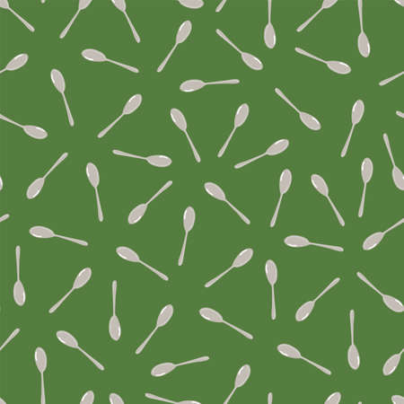 green spoons scatter simple repeat pattern Illustration
