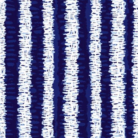 blue shibori vertical grunge stripes seamless pattern