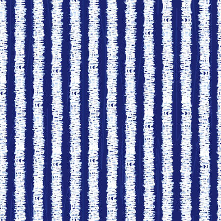 Vector blue shibori monochrome vertical grunge stripes 04 seamless pattern. Suitable for textile, gift wrap and wallpaper.