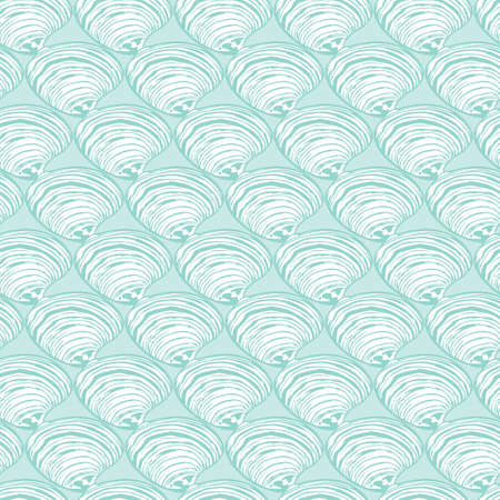 Vector aqua rows of clam seashells repeat pattern. Suitable for gift wrap, textile and wallpaper.