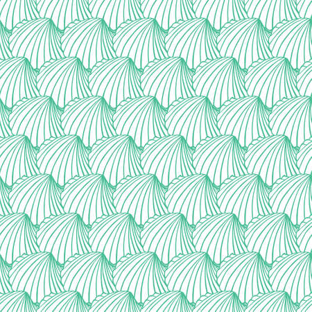 Vector aqua rows of cockles clam seashells repeat pattern. Suitable for gift wrap, textile and wallpaper.