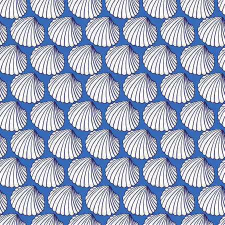 Vector blue rows of cockles clam seashells repeat pattern 05. Suitable for gift wrap, textile and wallpaper.