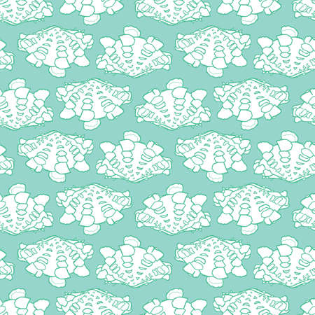 Vector aqua monochrome rows of giant clam seashells repeat pattern. Suitable for gift wrap, textile and wallpaper.