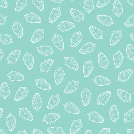 Vector pastel blue conch scattered seashells repeat pattern. Suitable for gift wrap, textile and wallpaper. Illustration