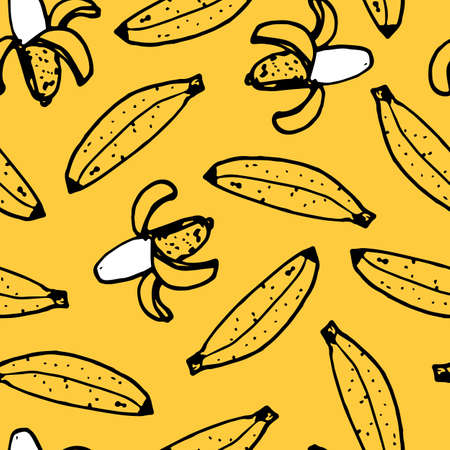 Vector yellow hand drawn scattered bananas fun doodle background pattern. Perfect for fabric, scrapbooking and wallpaper projects.