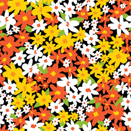 Vector colourful scattered bouquet of multicoloured fun daisy flowers repeat pattern. Suitable for textile, gift wrap and wallpaper.