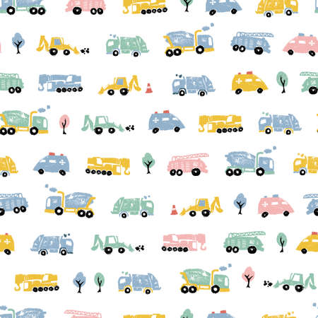 Vector white pastel pen skech rows of small cute cement trucks transport vehicles simple seamless pattern. Suitable for textile, gift wrap and wallpaper.