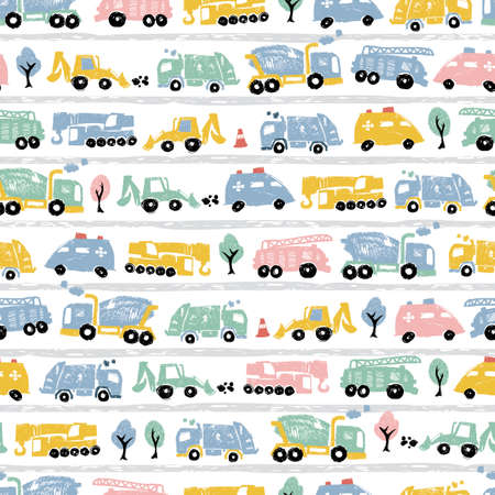 Vector white pastel pen skech rows of cute cement trucks transport vehicles seamless pattern with road stripes. Suitable for textile, gift wrap and wallpaper.