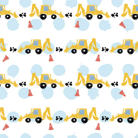 Vector white pastel pen skech rows of cute backhoe excavator seamless pattern with light blue polka dots. Suitable for textile, gift wrap and wallpaper.