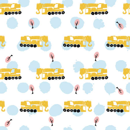 Vector white pastel pen skech rows of cute construction crane seamless pattern with light blue polka dots. Suitable for textile, gift wrap and wallpaper. Illustration