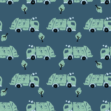 Vector dark blue pen skech rows of cute green garbage trucks seamless pattern. Suitable for textile, gift wrap and wallpaper.