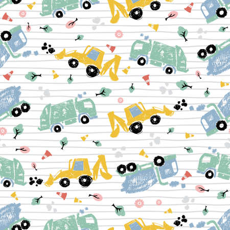 Vector white pen skech doodle cute tilted cement trucks transport vehicles seamless pattern with stripes. Suitable for textile, gift wrap and wallpaper. Illustration