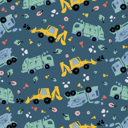 Vector dark blue pen skech doodle cute tilted cement trucks transport vehicles seamless pattern. Suitable for textile, gift wrap and wallpaper.