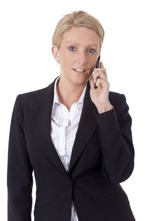 voicemail: Isolated businesswoman making a telephone call
