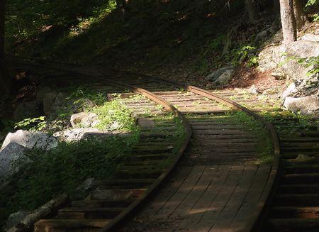 logging railways: An abandoned logging rail. Stock Photo