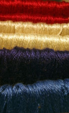filaments: Red White and Blue embroidery thread.