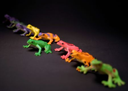 originality: Toy frogs in a line.  Selective depth, and postion make the green frog stand out from the rest.