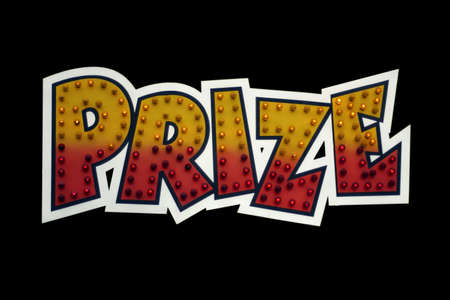 A prize sign isolated on a black background