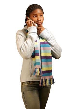 quizzical: Una muchacha adolescente con un expresion quizzical en su cara. Con la trayectoria del truncamiento.