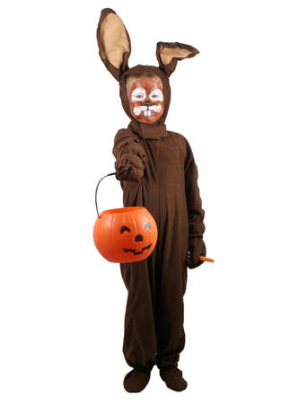trick or treating: A little boy in a rabbit costume trick or treating. Stock Photo