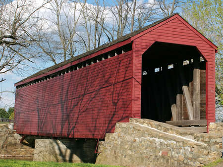 md: Loys Station Covered Bridge in Fredrick, MD. Stock Photo