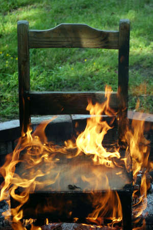 unwelcome: A chair on fire... metaphor