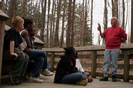 summer camp: A group of student on a field trip. Stock Photo