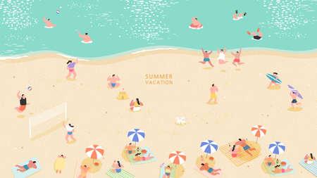 People at beach or seashore relaxing and performing leisure outdoor activities-sunbathing, talking, walking, swimming in sea or ocean