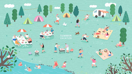 Summer camp festival. People or tourists living in tents, travel trailers and camper vans, cooking and eating food outdoor, playing, talking to each other