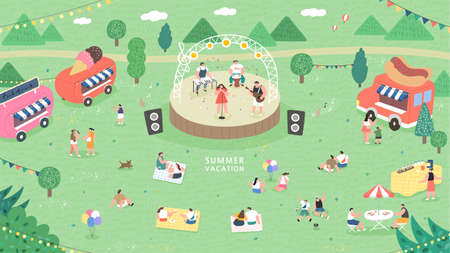 outdoor music festival concept illustration. People have picnic in park. People sits on green grass, eats on picnic, spend summer weekend outdoors. Vectores