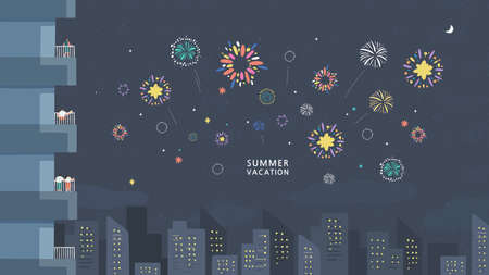 people watching fireworks displaying in dark evening sky and celebrating holiday against city buildings. Festival celebration Vectores