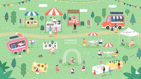 Summer fair festival food, Summer flea market. sale family festival event, marketplace and tent vector illustration